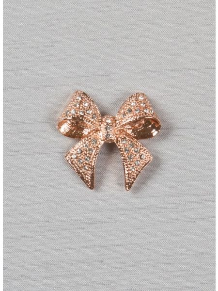 "Bow 1 1/8"" brooch w/Rhinestones, rose gold"