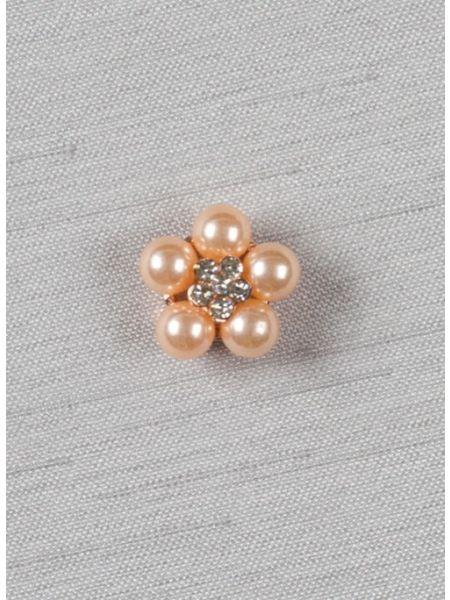 "Pearl and rhinestone flower 1/2"" brooch"