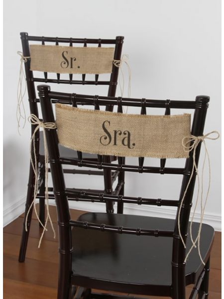 Sr. and Sra. Burlap Chair Sashes
