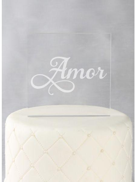 Amor Acrylic Square Cake Top