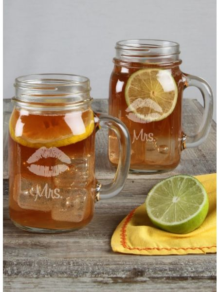Lips Mason Jar Set Mrs / Mrs