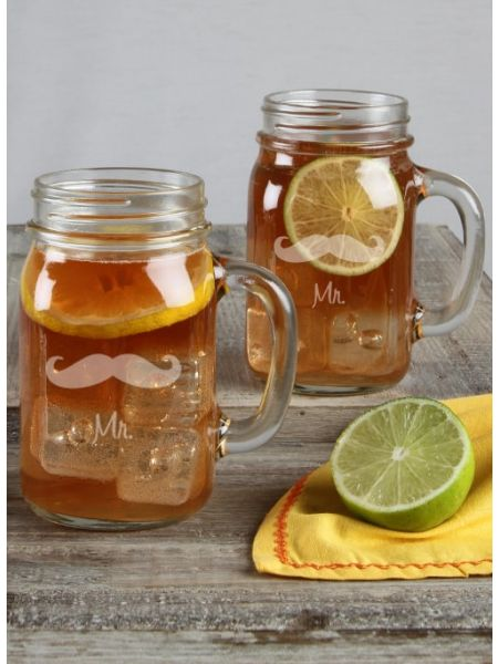 Mustache Mason Jar Set Mr / Mr