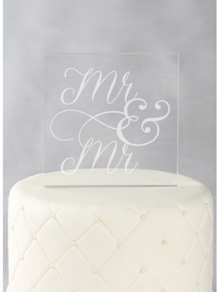 Mr. & Mr. Acrylic Square Cake Top