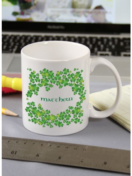 Dark Green Shamrock Mug
