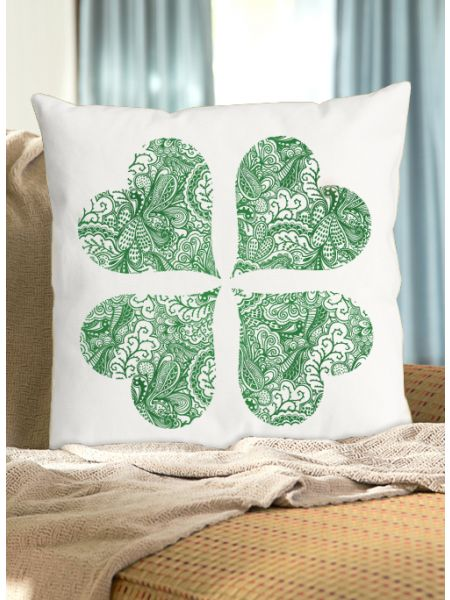 Flourish Heart Shamrock Pillow