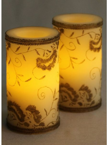Brown Floral Design LED Candle