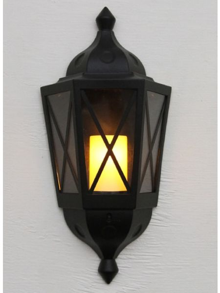 Black Outdoor Lantern With LED Candle