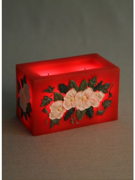 Red Floral LED Candle