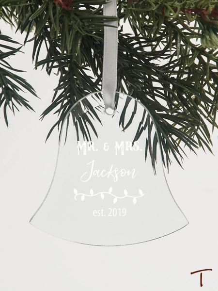Tenereze Exclusive | Mr. and Mrs. Bell Glass Ornament