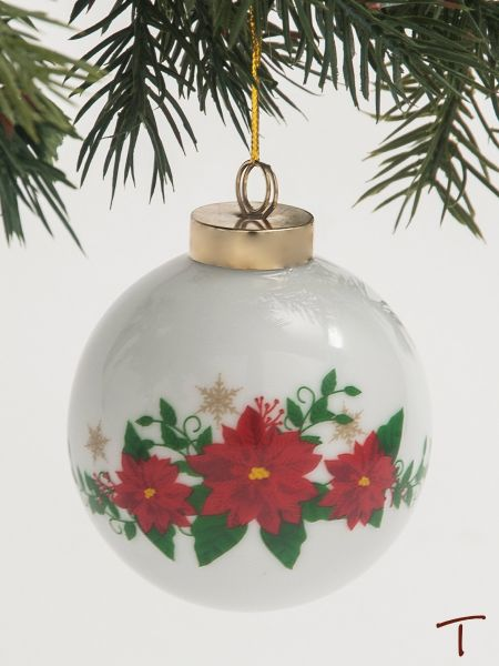 Poinsettia Porcelain Christmas Ornament