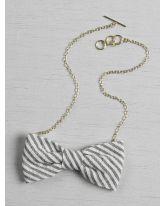 Seersucker Bow Tie Necklace