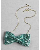 Shiny Sequin Bow Tie Necklace