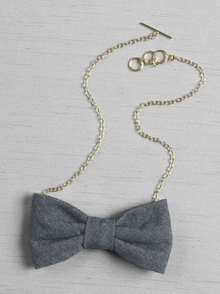Chambray Bow Tie Necklace