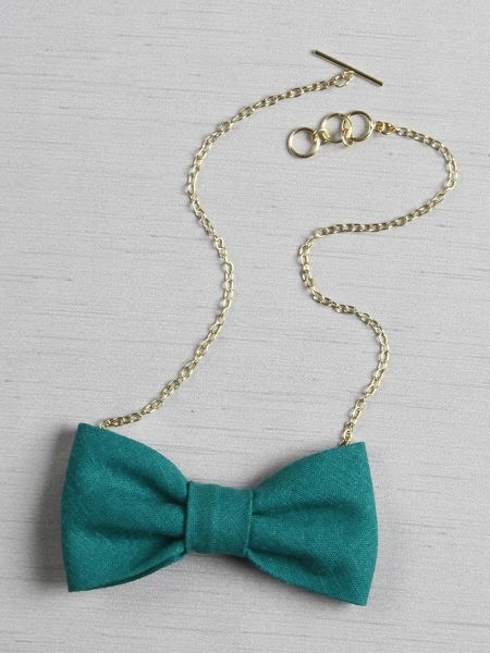 Linen Look Bow Tie Necklace