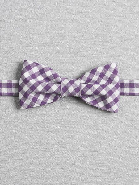 Gingham Pre-tied Bow Tie