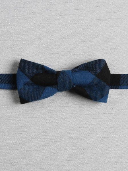 Plaid Pre-Tied Bow Tie, Blue