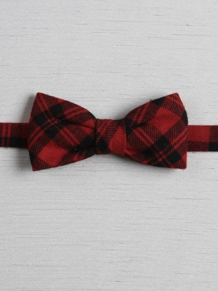Plaid Pre-Tied Bow Tie, Red