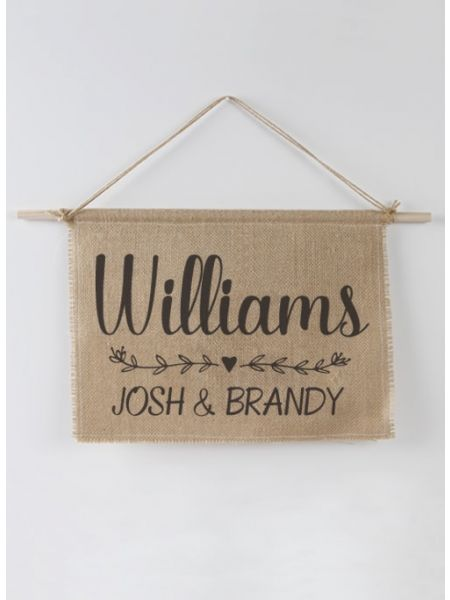 Last Name Burlap Sign