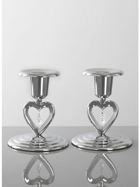 Crystal Heart Taper Holder Set