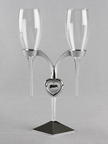 Silver Heart Toasting Flutes Set and Stand