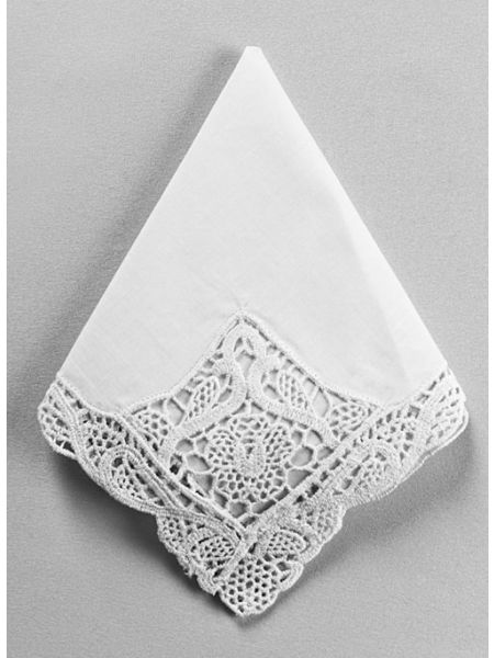 Venise Fancy Embroidered Handkerchief, White
