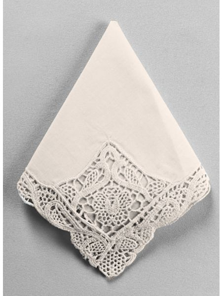 Venise Fancy Embroidered Handkerchief, Ivory