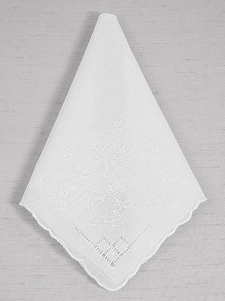 Emily Floral Embroidered White Handkerchief