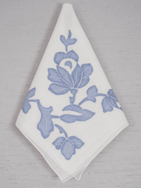 Blue Flower White Handkerchief