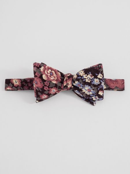 Fall Floral Corduroy Bow Tie