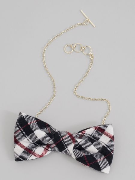 Plaid Bow Tie Necklace