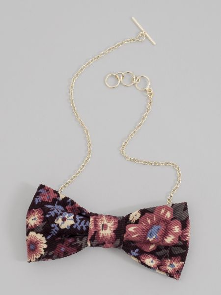 Floral Corduroy Bow Tie Necklace
