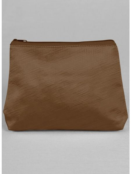 Novia Embroidered Cosmetic Bag-Brown