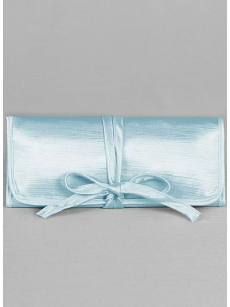 Novia Embroidered Jewelry Roll-Blue