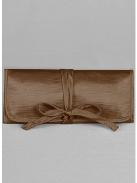 Novia Embroidered Jewelry Roll-Brown
