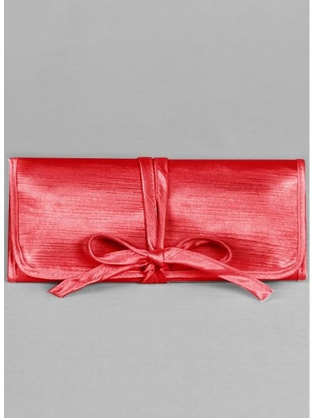 Novia Embroidered Jewelry Roll-Red