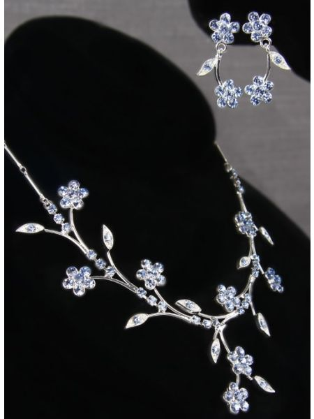 Crystal Flower Vines Necklace and Earrings Set