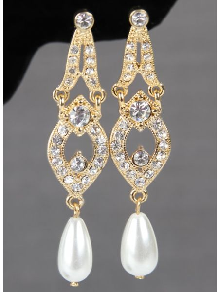 Tiered Earrings with Dangling Pearls