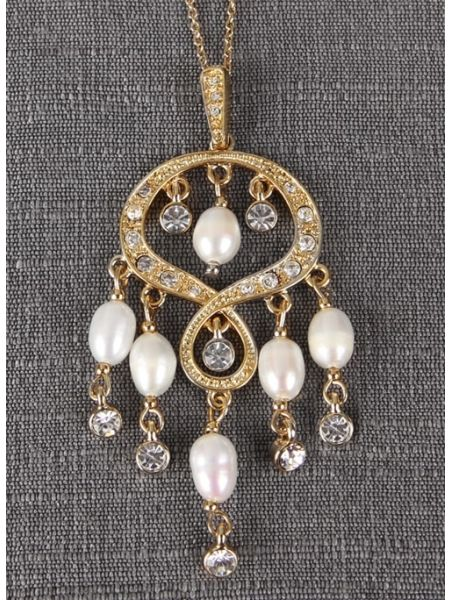 Rhinestone & Pearl Chandelier Pendant Necklace