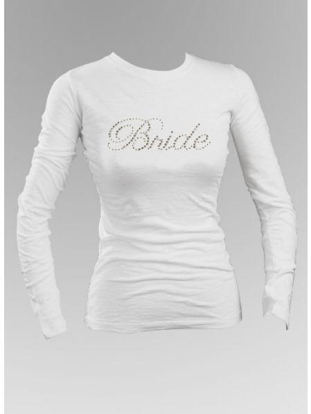 Bride Rhinestone Long Sleeve Top