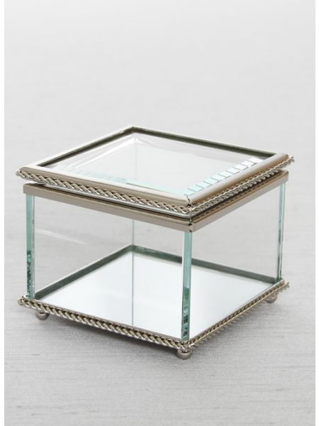 Beveled Glass Box with Mirror Bottom