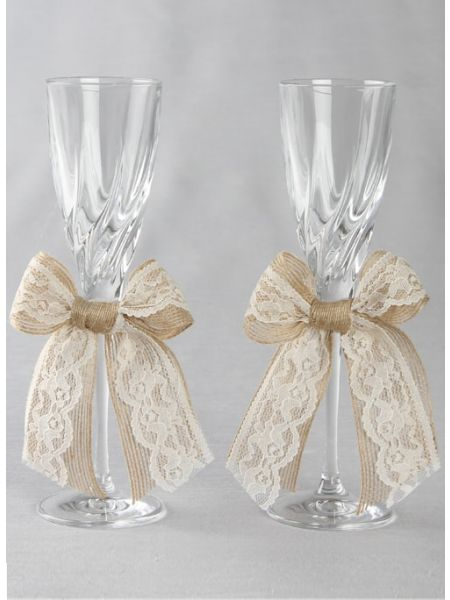 Country Romance Toasting Flutes Set