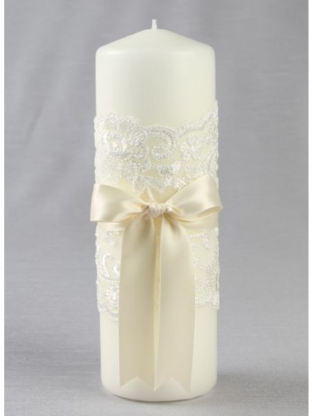 Chantilly Lace Pillar Candle, Ivory