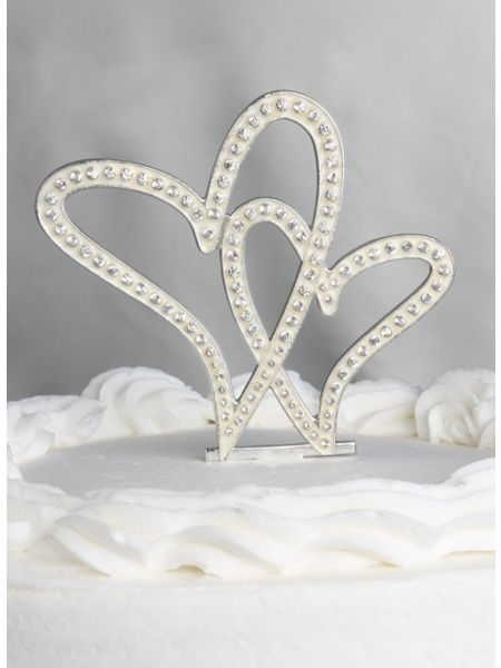Crystal Hearts Wedding Cake Top