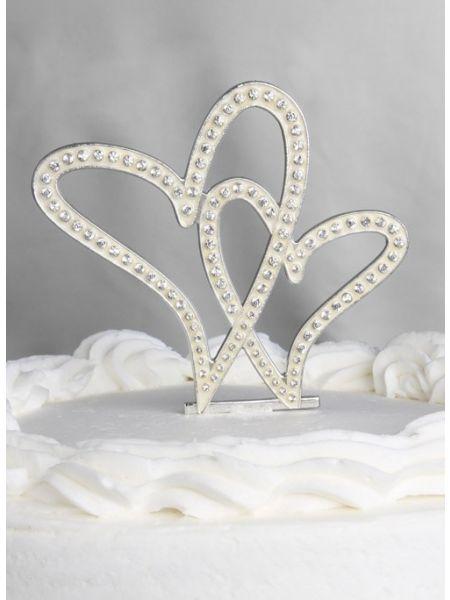 Crystal Hearts Wedding Cake Top