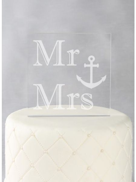 Mr & Mrs Acrylic Square Cake Top