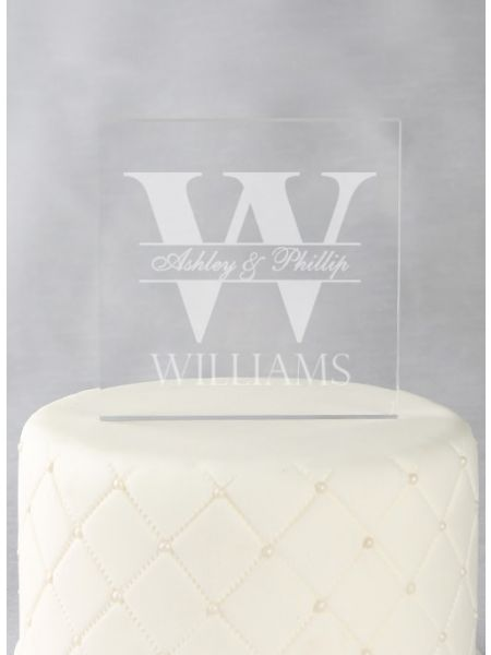 Bold Initial Acrylic Square Cake Top