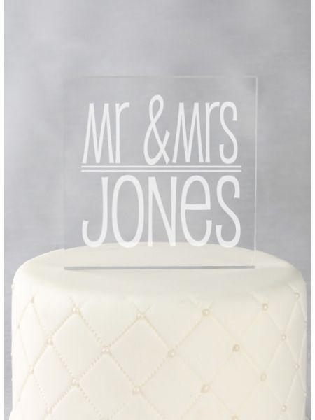 Mr. & Mrs. Acrylic Cake Top
