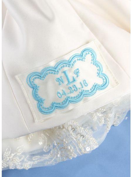 Monogram w/Date Dot Border Dress Label, Ivory