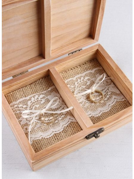 Burlap and Lace Ring Bearer Box Inserts