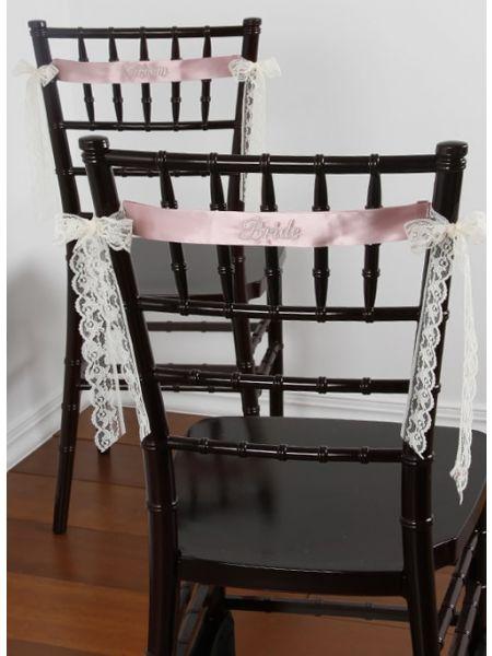 Satin Embroidered Chair Sash